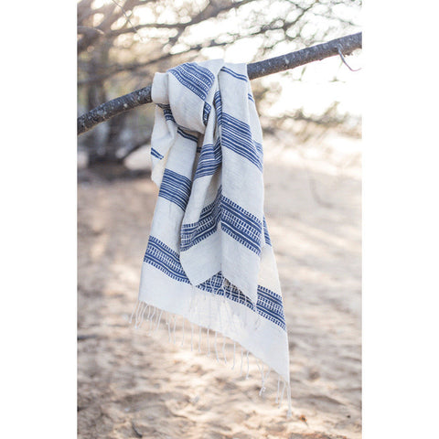 HANDWOVEN THROW | in ivory + navy by once was lost