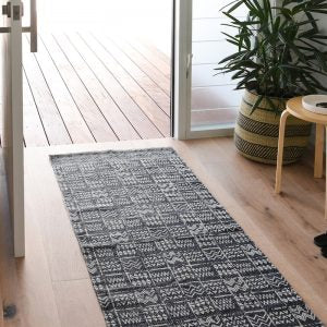 RUG | Mudcloth Tribal Runner Charcoal By Collective Sol