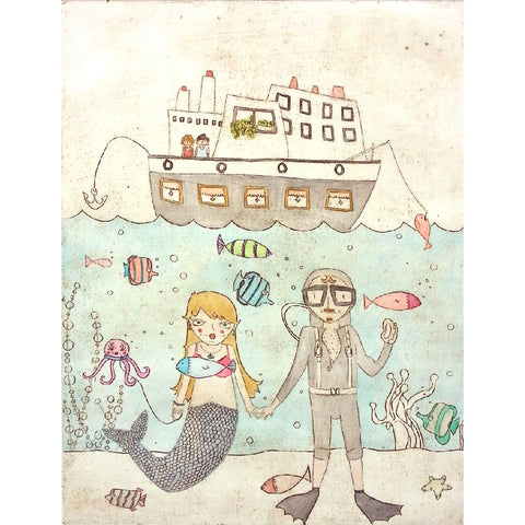 ART PRINT | underwater I love you by magali dincher