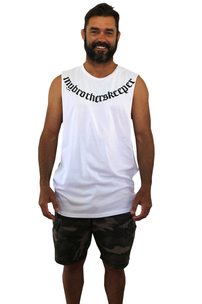 Neck Tat White Muscle Tee