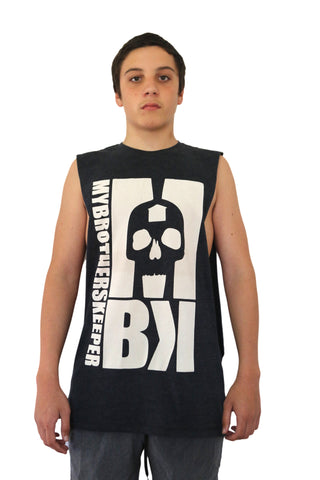Big Skull Charcoal Marl Muscle Tee
