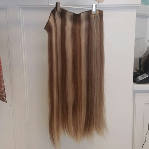 Human Hair Extensions Long Clip In 3 Piece Set-#6/613 Straight Hair Texture