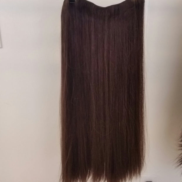 Human Hair Extensions Long Clip In 3 Piece Set #6 Straight Hair Texture 22""