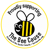 A bee that is the logo for The Bee Cause initiative supported by the Friends of the Earth Canada