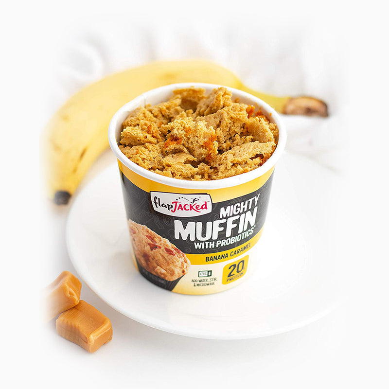 biaa flapjacked banana caramel mighty muffin 20g proteina y probioticos
