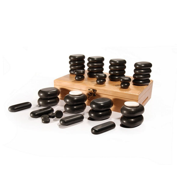 Master Massage 40 pcs HOT STONE SET for Body Massage with Bamboo Box