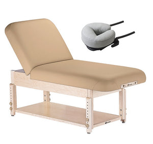 Beige Earthlite SEDONA TILT Stationary Massage Table with Shelf Base