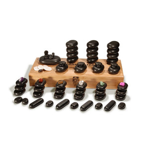 Master Massage Deluxe 70 pcs Basalt HOT STONE SET with Bamboo Box