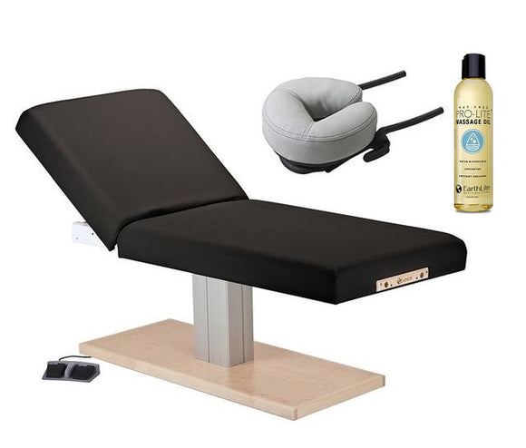 Black Earthlite EVEREST SPA TILT Single Pedestal Electric Lift Table