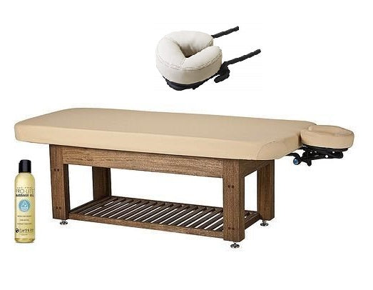 Living Earth Crafts NAPA LA MER  Spa and Salon Teak Base Hydraulic Lift Table