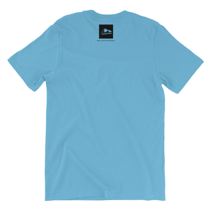 Outsidevibes Gear Men's Ocean Blue Cotton T-Shirt Outdoor and Travel Apparel