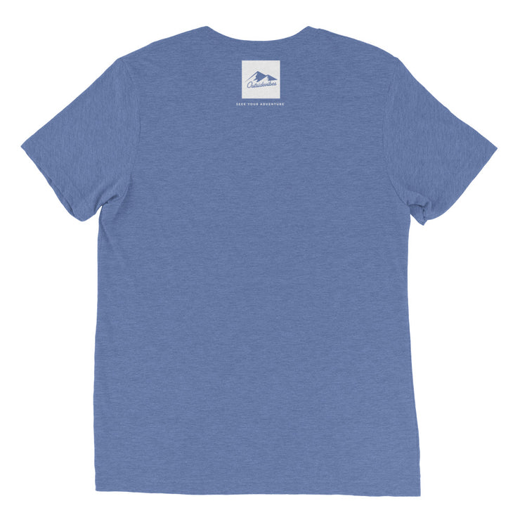 Ousidevibes Gear Men's blue tri-blend T-Shirt Outdoor and Travel Apparel