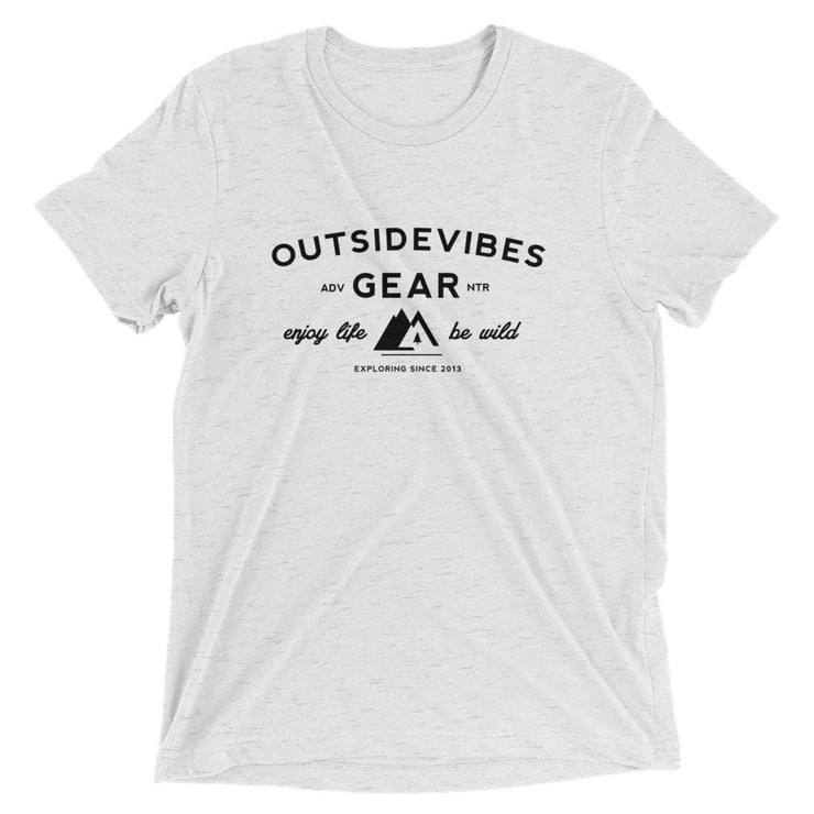 Ousidevibes Gear Men's white fleck tri-blend T-Shirt Outdoor and Travel Apparel