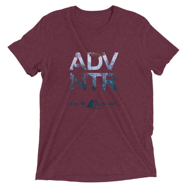 Outsidevibes ADVNTR Wave Men's maroon tri-blend T-Shirt Travel and outdoor clothing