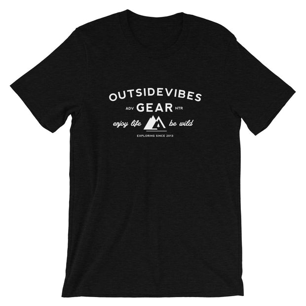 Outsidevibes Gear Men's Heather Black T-Shirt Outdoor and Travel clothing