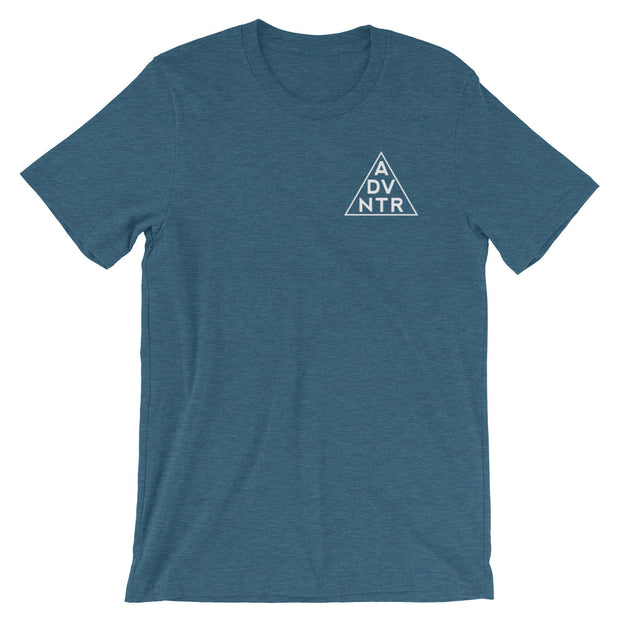 Ousidevibes The ADVNTR Triangle Men's heather deep teal T-Shirt Outdoor and travel clothing
