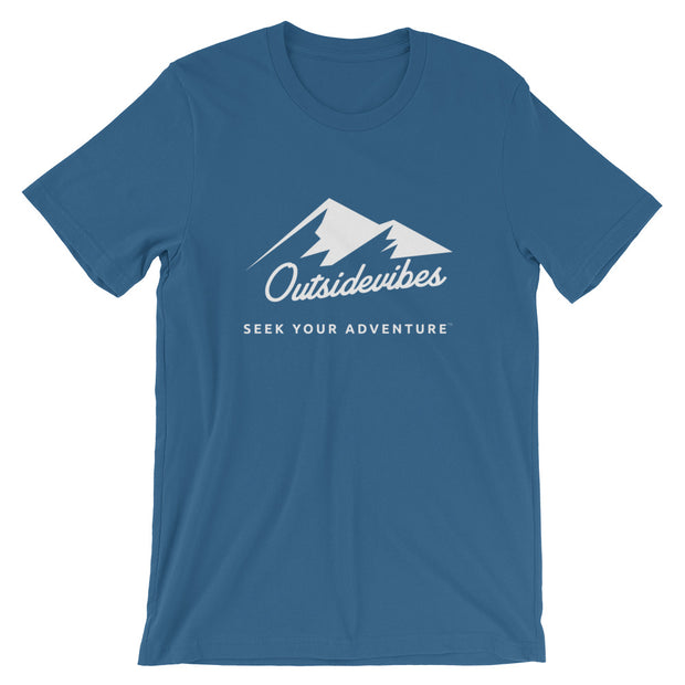 Outsidevibes ADVRT Men's Cotton T-Shirt Steel Blue color Travel and outdoor clothing