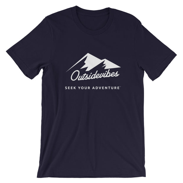Outsidevibes ADVRT Men's Cotton T-Shirt navy color Travel and outdoor clothing