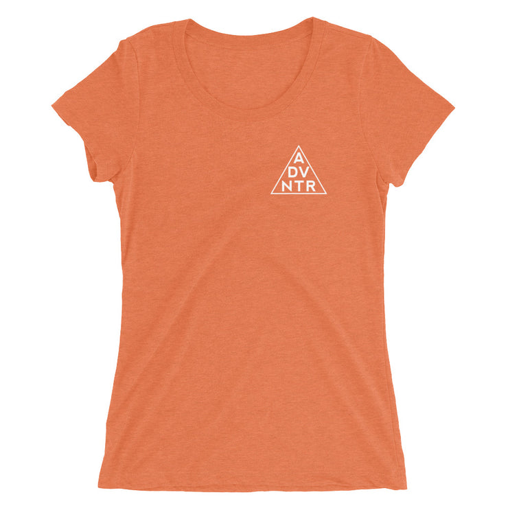 Outsidevibes Gear Try advntr Woman's orange T-Shirt Outdoor and Adventure clothing