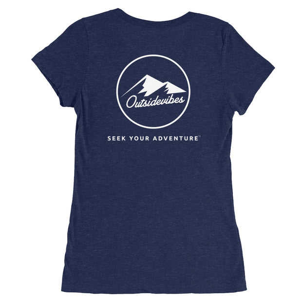 Outsidevibes Gear Try advntr Woman's navy T-Shirt Outdoor and Adventure clothing