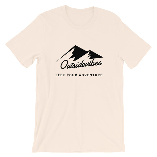Outsidevibes ADVRT Men's Cotton T-Shirt Soft Cream color Travel and outdoor clothing