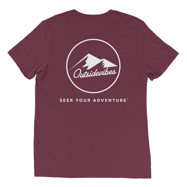 Ousidevibes The ADVNTR Triangle Men's maroon tri-blend T-Shirt Outdoor and Travel clothing
