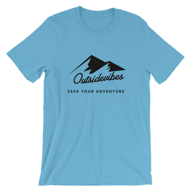 Outsidevibes ADVRT Men's Cotton T-Shirt Ocean Blue color Travel and outdoor clothing