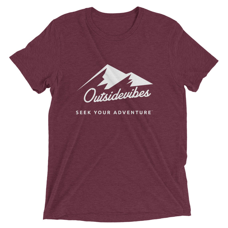 Outsidevibes ADVRT Men's maroon Tri-Blend T-Shirt color Travel and outdoor clothing