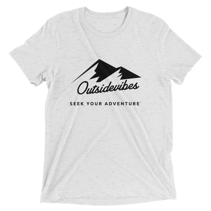 Outsidevibes ADVRT Men's white fleck Tri-Blend T-Shirt color Travel and outdoor clothing