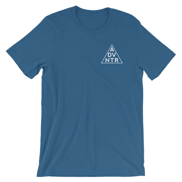 Ousidevibes The ADVNTR Triangle Men's steel blue Cotton T-Shirt Outdoor and travel apparel