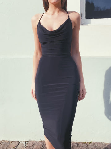 Row Drape Neck Bodycon Dress