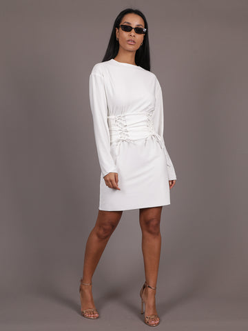 Parry Dress With Double Lace Up Corset Belt, Mini Dress, AYM - Boom Boom the Label