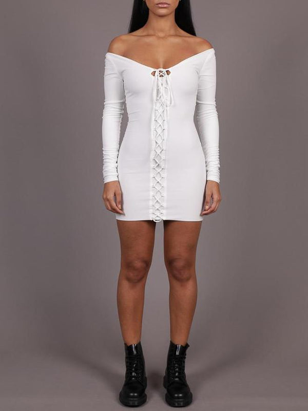 Paradise Long Sleeve Lace Up Dress, Mini Dress, AYM - Boom Boom the Label title=