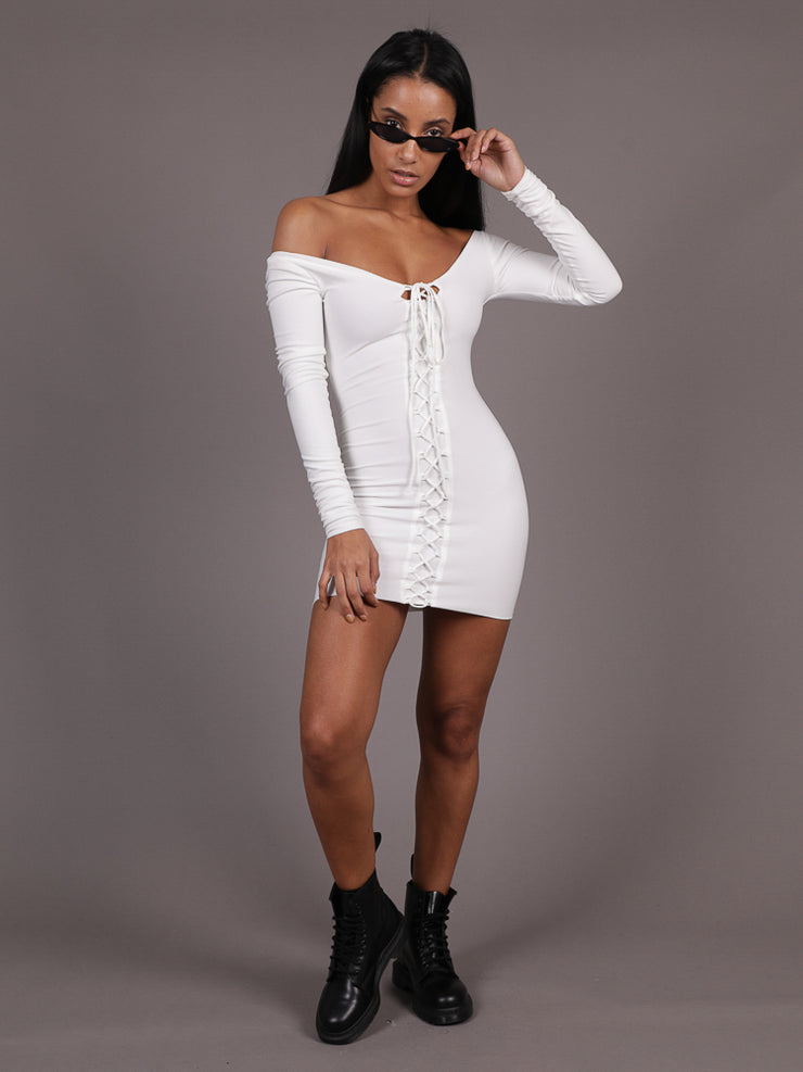 Paradise Long Sleeve Lace Up Dress, Mini Dress, AYM - Boom Boom the Label