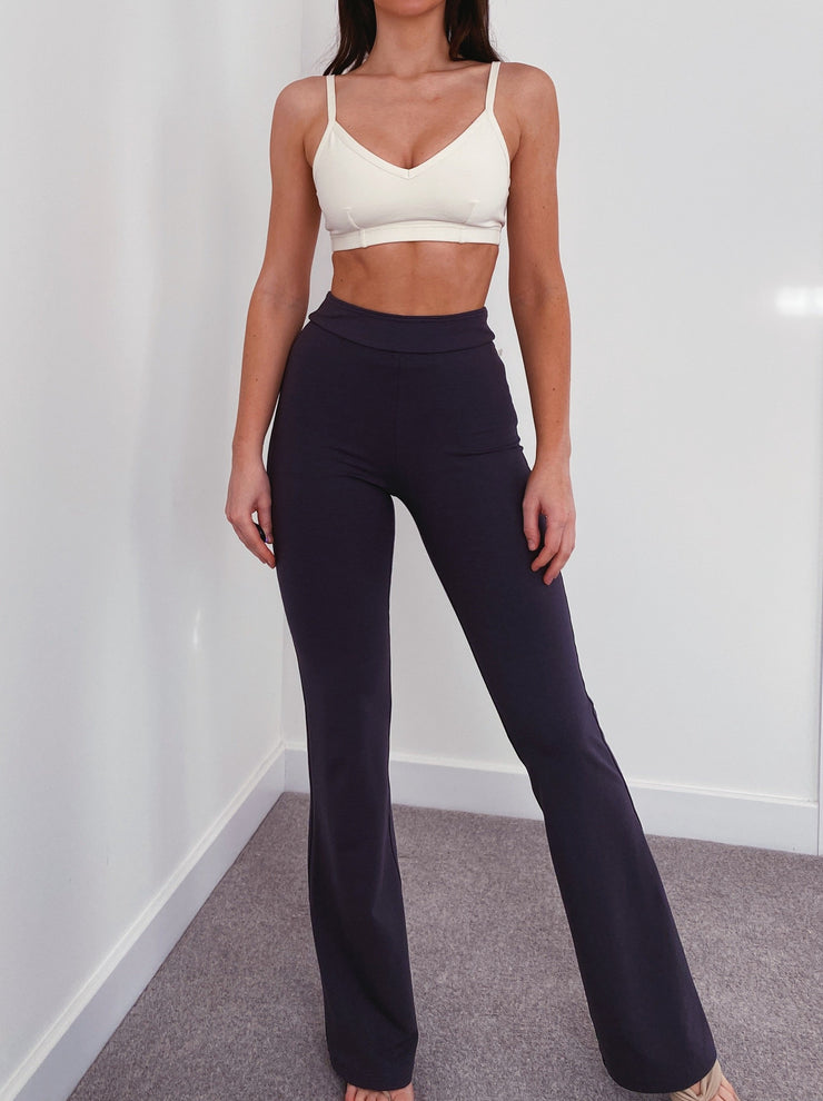 Bamboo Trousers with Straight Waistband