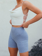 Row Drape Front Crop Top