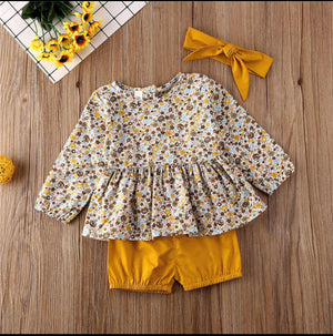 Infant Girls Yellow Floral Set