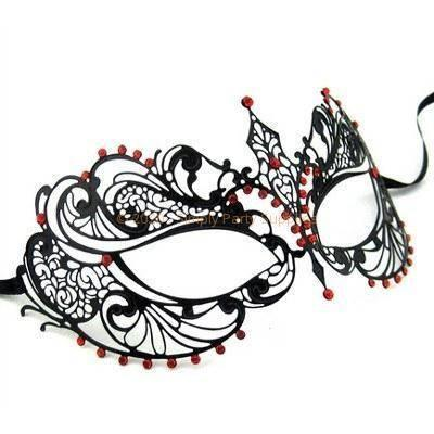 Laser Cut Cateye Metal Masquerade Mask With Red Rhinestones black, deluxe, half masks, laser cut, masks, masquerade, metal, party masks, red, venetian, womens