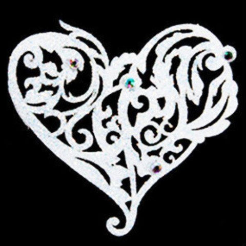 Passionate Bridal White Tattoo With Swarovski Crystals black lace, bridal, bride, crystal, heart, tattoo, white, womens