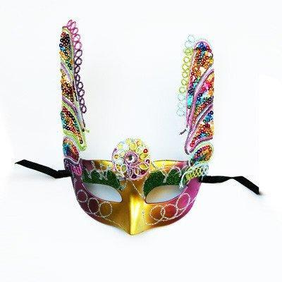 Gold Masquerade Mask With Rainbow Wings fancy dress, gold, masks, masquerade, multi-colour, venetian, womens