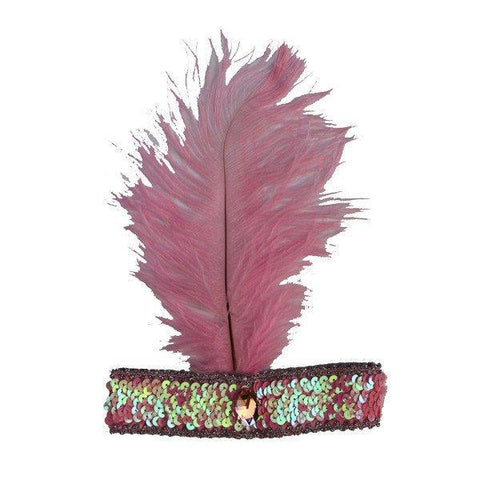 Burlesque Flapper Headband - Pink Feather
