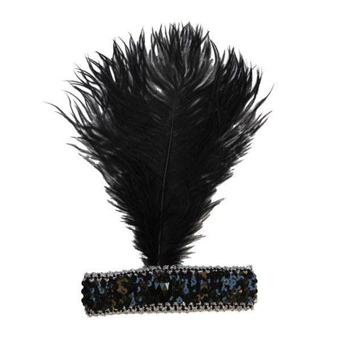 Burlesque Flapper Headband - Black Feather - Masquerade Mask - Simply Party Supplies