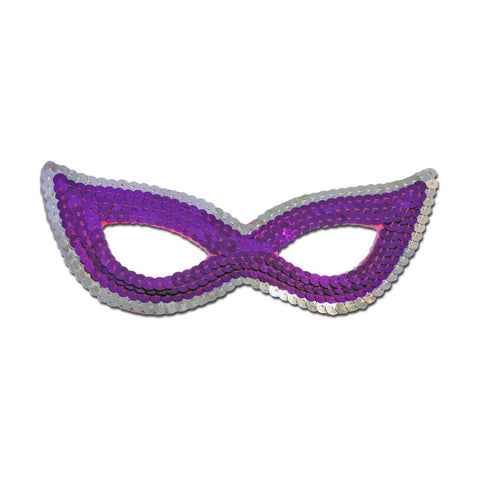 Purple And Silver Sequined Masquerade Mask With Cat Eyes