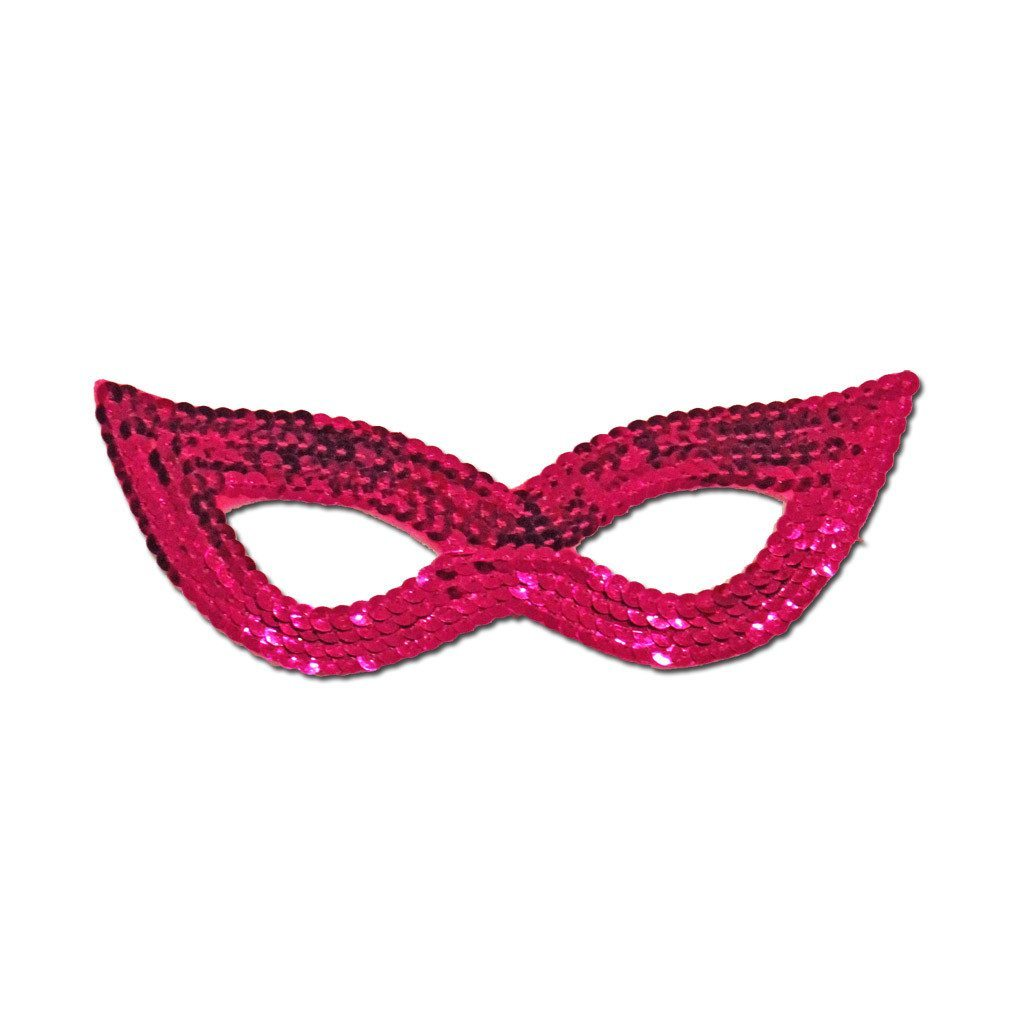 Dark Pink Sequined Masquerade Mask With Cat Eyes fancy dress, mardi gras, masks, masquerade, pink, sequined, womens