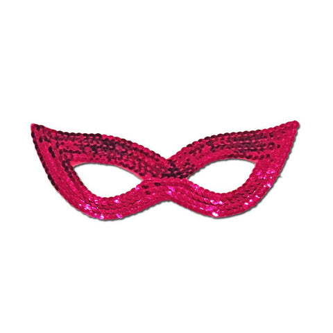 Dark Pink Sequined Masquerade Mask With Cat Eyes