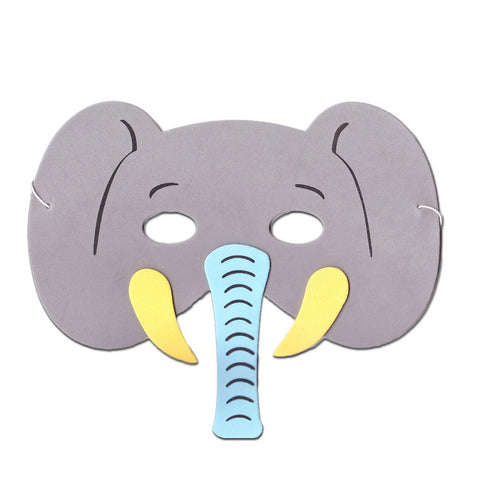 Elephant Childrens Foam Animal Mask - Grey With Blue Trunk