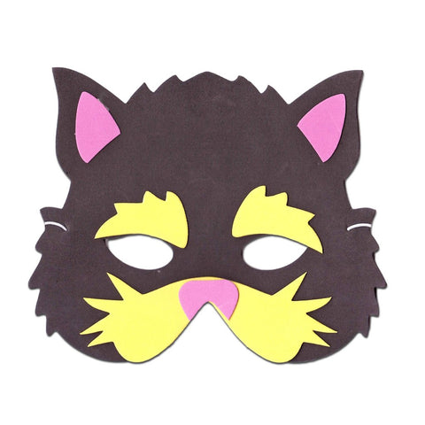Cat Childrens Foam Animal Mask - Black and Yellow