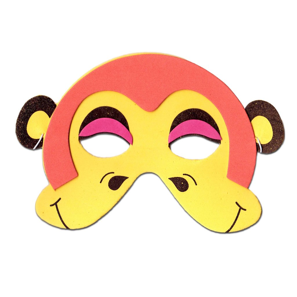 Monkey Childrens Foam Animal Mask In Orange animals, boys, child one size, childrens, fancy dress, foam, girls, half masks, masks, monkey