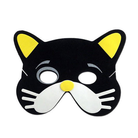 Childrens Masks - Black Cat Childrens Foam Animal Mask With White Whiskers