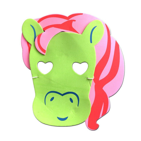 Childrens Masks - Pony Childrens Foam Animal Mask - Green with Pink